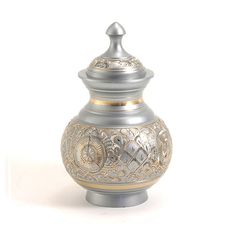 Pewter cremation urn for pets. Brass undertone. 40 cubic inches. OneWorld Memorials.