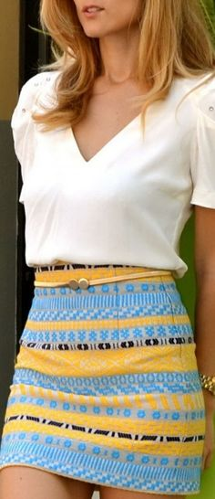 How to style a blouse with a skirt. Via