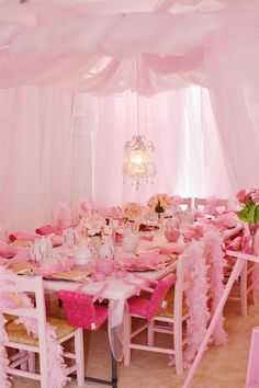 Princess party or tea party.. i'm loving the little babydoll highchair idea!!