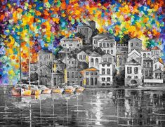 Qué bonito es pintar la vida de colores cuando todo es gris alrededor. Oil On Canvas, Canvas Art, Kunst Online, Cross Stitch Landscape, Cross Paintings, Leonid Afremov Paintings, Land Art, Urban Landscape, Pop Art