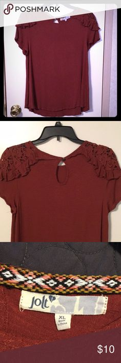 Blouse w/lace detail - NWOT Maroon blouse with lace/ruffle detail on shoulder. Jolt Tops Blouses