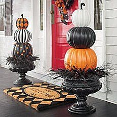"Grandin Road 36""H Halloween Stacked Pumpkins Solid"