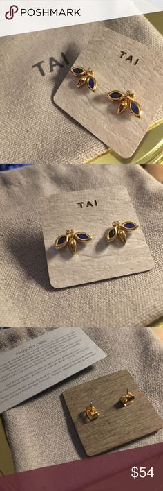 NEW Tai firefly sapphire earrings studs Super super cute. Wings are slightly elevated to show off the color of the wings, the dark sapphire blue will go with everything in your closet! Cubic zirconia diamond eyes. Sapphire crystals. It's gold over brass. The representative told my BF that it would be fine for sensitive ears - I wore them once & my ears were a lil bit uncomfortable. we're past the return time frame now :/ please do not buy if you are like me & can only handle pure metals. Not…