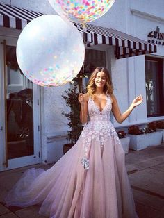 V-neck Prom Dress, A-line Tulle Long Prom Dress Evening Dress MK566