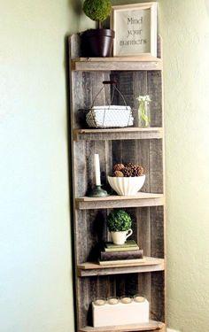 Pallet corner shelf.                                                                                                                                                                                 More
