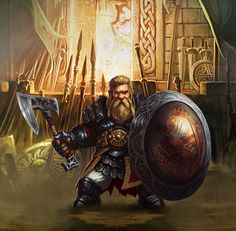 m Dwarf Fighter Hvy Armor Sheild Axe Fortress mountain Armory Fantasy Dwarf, Fantasy Armor, Medieval Fantasy, Character Concept, Character Art, Concept Art, Character Ideas, Character Design, Fantasy Characters