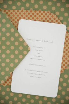 DIY Dot Invitation:  Buy simple printable invitations in bulk. Print your personalized invite and use a punch found in Michaels scrapbooking area to round the corners. Select a polka-dot pattern paper to add playful pop. Wrap your invite in polka-dot fun by creating a tri-fold folder with rounded envelope flaps.