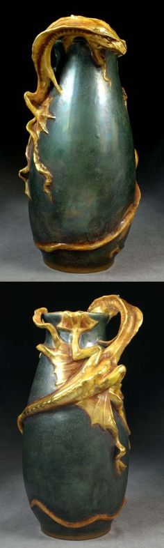 AMPHORA POTTERY vase encircled by dragon, c. 1900, Bohemia, 14 in H.