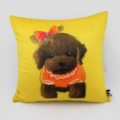 Poodle throw pillow for home Yellow suede cushions 18in