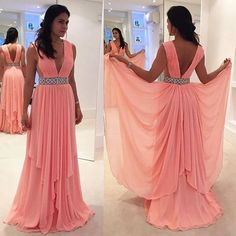 Sexy Deep V Neck Long Chiffon Prom Dress Evening Dress