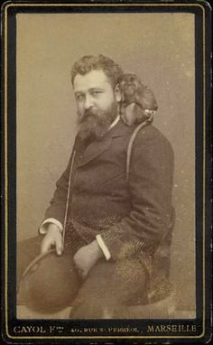 ca. 1880s, [carte de visite portrait of a bearded gent, perhaps a retired sailor, with tiny monkey perched on his shoulder], Cayol Freres Marseille