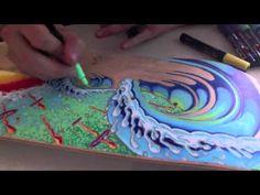 Painting a Skateboard With Posca Paint Pens - 2011 Painted Skateboard, Skateboard Art, Surfboard Painting, Tenacious D, Posca Art, Beginner Art, Shape Art, Art N Craft, Watercolour Tutorials