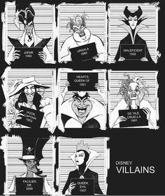 Disney Villains Mugshots www.nl Maleficent and the evil queen look really refined on their mugshot. Disney Pixar, Disney Amor, World Disney, Film Disney, Disney And Dreamworks, Disney Love, Disney Magic, Funny Disney, Disney Villains Art
