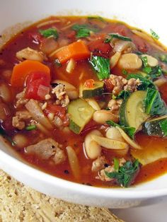 Italian Sausage, Vegetable, and Orzo Soup | A Hint of Honey