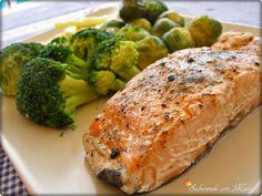 Salmón al vapor con verduras