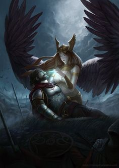 Valkyrie by Simon Tjong Posted by /u/Maparyetal to /r/fantasyart Viking Power, Vikings, Soldier Tattoo, Viking Tattoos, Norse Mythology, Celestial, Character Description, Amazing Art, Cool Art