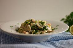 Carbonara Saudável com Noodles de Courgette Salsa Fresca, Risotto, Potato Salad, Vegan, Potatoes, Homemade, Ethnic Recipes, Grilled Veggies, Soy Sauce
