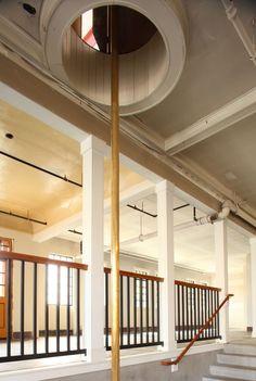 Portland Oregon Engine Company No. 7 building, fire pole.
