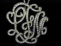 Monogram Necklace 2  in diameter  14k White by magichandjewelry, $5500.00... Freaking LOVE