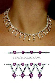 Jewelry Making Necklace Free pattern for necklace Tenderness seed beads pearl beads 4 mm pearl beads 6 mm. Jewelry Making Necklace Free pattern for necklace Tenderness seed beads pearl beads 4 mm pearl beads 6 mm Beaded Necklace Patterns, Seed Bead Patterns, Beaded Bracelets, Art Patterns, Embroidery Patterns, Pearl Beads Pattern, Mosaic Patterns, Loom Patterns, Painting Patterns