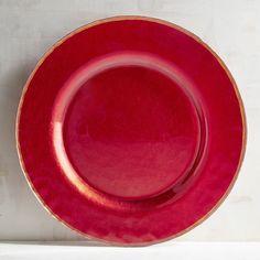 Evelyn Crimson Glass Dinner Plate Red