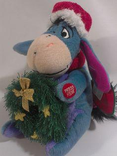 Disney Eeyore Plush Winnie Pooh Friend Stuffed Animal Bean Bag Musical Wreath  #Disney
