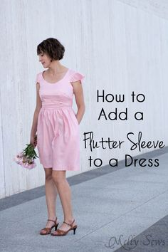 Sewing Dress How to add a sleeve to a dress - it's simple to add a flutter sleeve with this DIY sewing tutorial by Melly Sews - Add a sleeve to a dress with this easy tutorial - take your sundress to the next level. Easy Sew Dress, Diy Dress, Dress Tutorials, Sewing Tutorials, Sewing Tips, Sewing Ideas, Sewing Clothes, Diy Clothes, Dress Sewing