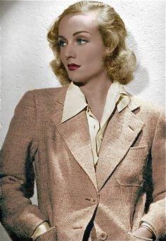 Beautiful color photo of Carole Lombard c.1940