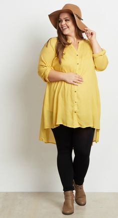 You'll fall in love with this button up plus size maternity top as soon as you put it on this season. Perfect for styling with your favorite maternity jean or legging and booties for the cooler months ahead. Perfect for women's and maternity.