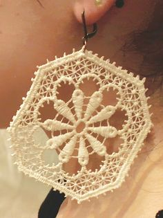 Lace Earrings Retro Earrings Cotton Lace Earrings by Spondeo, $15.00