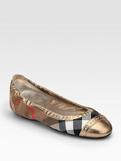 Burberry - Southwark Check Canvas   Metallic Leather Ballet Flats. ChaussureAppartements  ÉlégantsChaussures BurberryBallerines ... 85695108cf0