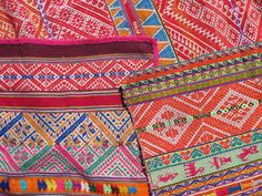 Peruvian textiles. Great example of pattern, texture, and color.