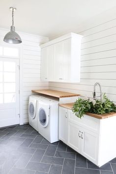 Laundry room, modern. Spacing of wash/dry and utility sink