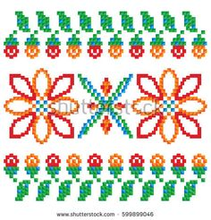 Illustration of the Eastern European ornament embroidery