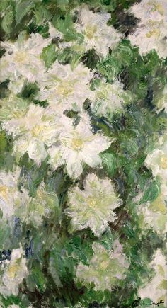 White Clematis Painting  - White Clematis Fine Art Print