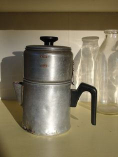 vintage coffee pot.  Coffee that tasted like motor oil.
