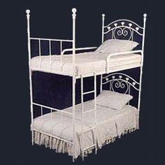 This Sweetheart Iron Bunk Bed is perfect for two little princesses who share a room or for friends who love to visit. Featuring top notch quality and extreme attention to detail, each piece is cut and bent by hand and each connecting joint is formed by pouring molten metal into a mold.Free Shipping available.