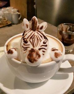 latte art zebra