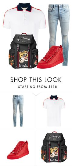"""""""boof pack"""" by yungeenace ❤ liked on Polyvore featuring AllSaints, Gucci, Balenciaga, men's fashion and menswear"""