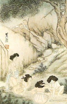 그림과 글이 있는 블로그 | 혜원 그림의 진면목을 감상하세요 Japanese Artwork, Japanese Painting, Japanese Prints, Korean Painting, Chinese Painting, Korean Art, Asian Art, Korean Traditional, Traditional Art