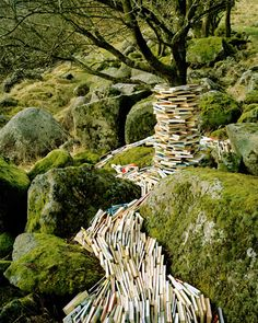 Norwegian artist Rune Guneriussen is working in the transition between installation and photography. As a conceptual artist he works site specific, primarily in nature and creates beautiful light installations with old lamps or books. Land Art, Art Conceptual, Surreal Art, Book Art, Art Environnemental, Buch Design, Environmental Art, Outdoor Art, Altered Books