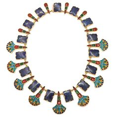 Egyptian Revival  Enameled Gold and Lapis Necklace | From a unique collection of vintage link necklaces at https://www.1stdibs.com/jewelry/necklaces/link-necklaces/
