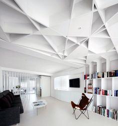 Incredible Casa de las Jacenas' Geometrical Design: Animal Leather Tripolina Round Coffee Tables Cool Black Sofa Geometric Architectural Ceiling ~ dickoatts.com Home Design Inspiration
