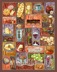 Gourmet Alphabet-- original art print 8X10, 11X14