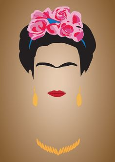 Would you like to imagine and draw in the rest of Frida's face in this interesting frontal portrait?
