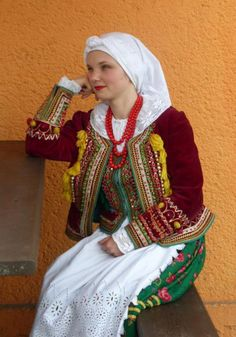 Folk costume from Kraków, Poland (clothing of a married woman).