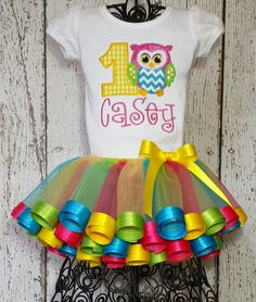 Cute Owl/Baby girl's 1st 2nd 3rd 4th 5th birthday/Satin ribbon trim tutu outfit/pink, yellow, green, turquoise on Etsy, $78.00