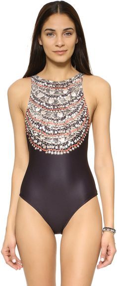 Love this Mara Hoffman swimsuit with beading detail. This is a quite unusual one piece with the large beaded detail on the bust. Very pretty. (affiliate link)