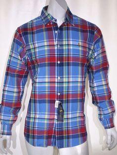 Polo Ralph Lauren plaid oxford men's shirt size large trim fit NEW on SALE  #poloralphlauren #ButtonFront
