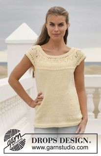 "Knitted DROPS top with lace pattern and round yoke in ""Muskat"". Size: S - XXXL. ~ DROPS Design"